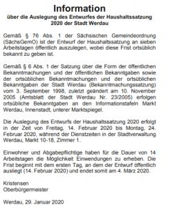 Information Haushaltssatzung Werdau 2020